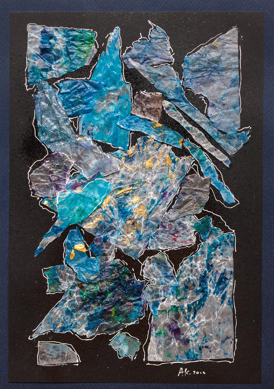 collage n°29   Poème en bleu